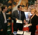Sajjad Karim, MEP visits the ADI and NAVS stand at the confe