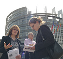 Jan Creamer being interviewed by a journalist outside the Eu